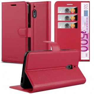 Cadorabo Hülle für Nokia 2.1 2018 in KARMIN ROT Handyhülle mit Magnetverschluss, Standfunktion und Kartenfach Case Cover Schutzhülle Etui Tasche Book Klapp Style