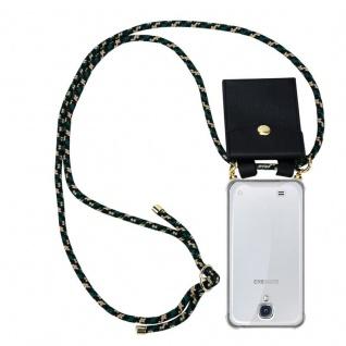 Cadorabo Handy Kette für Samsung Galaxy S4 in CAMOUFLAGE - Silikon Necklace Umhänge Hülle mit Gold Ringen, Kordel Band Schnur und abnehmbarem Etui ? Schutzhülle