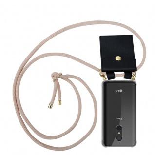 Cadorabo Handy Kette für LG Q9 in PERLIG ROSÉGOLD - Silikon Necklace Umhänge Hülle mit Gold Ringen, Kordel Band Schnur und abnehmbarem Etui ? Schutzhülle