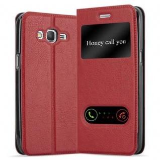 Cadorabo Hülle für Samsung Galaxy GRAND PRIME in SAFRAN ROT - Handyhülle mit Magnetverschluss, Standfunktion und 2 Sichtfenstern - Case Cover Schutzhülle Etui Tasche Book Klapp Style