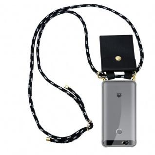 Cadorabo Handy Kette für Huawei NOVA in SCHWARZ SILBER - Silikon Necklace Umhänge Hülle mit Gold Ringen, Kordel Band Schnur und abnehmbarem Etui ? Schutzhülle