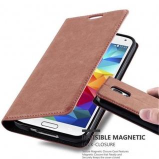 Cadorabo Hülle für Samsung Galaxy S5 / S5 NEO in CAPPUCCINO BRAUN - Handyhülle mit Magnetverschluss, Standfunktion und Kartenfach - Case Cover Schutzhülle Etui Tasche Book Klapp Style