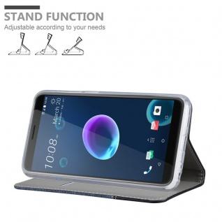 Cadorabo Hülle für HTC Desire 12 in DUNKEL BLAU SCHWARZ - Handyhülle mit Magnetverschluss, Standfunktion und Kartenfach - Case Cover Schutzhülle Etui Tasche Book Klapp Style - Vorschau 4