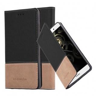 Cadorabo Hülle für Huawei P8 LITE 2015 in SCHWARZ BRAUN - Handyhülle mit Magnetverschluss, Standfunktion und Kartenfach - Case Cover Schutzhülle Etui Tasche Book Klapp Style