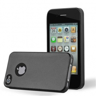 Cadorabo Hülle für Apple iPhone 4 / iPhone 4S in METALLIC SCHWARZ - Handyhülle aus flexiblem TPU Silikon - Silikonhülle Schutzhülle Ultra Slim Soft Back Cover Case Bumper