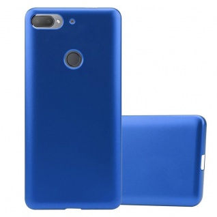 Cadorabo Hülle für HTC Desire 12 PLUS in METALLIC BLAU - Handyhülle aus flexiblem TPU Silikon - Silikonhülle Schutzhülle Ultra Slim Soft Back Cover Case Bumper