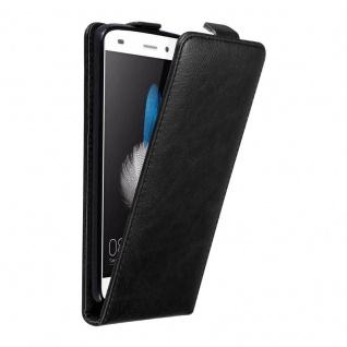 Cadorabo Hülle für Huawei P8 LITE in NACHT SCHWARZ Handyhülle im Flip Design mit unsichtbarem Magnetverschluss Case Cover Schutzhülle Etui Tasche Book Klapp Style
