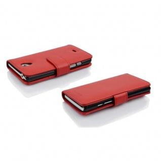 Cadorabo Hülle für Sony Xperia T in INFERNO ROT - Handyhülle aus strukturiertem Kunstleder mit Standfunktion und Kartenfach - Case Cover Schutzhülle Etui Tasche Book Klapp Style - Vorschau 3