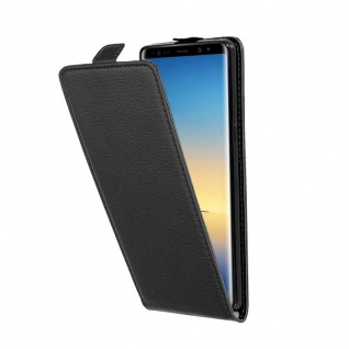 Cadorabo Hülle für Samsung Galaxy NOTE 8 in OXID SCHWARZ - Handyhülle im Flip Design aus strukturiertem Kunstleder - Case Cover Schutzhülle Etui Tasche Book Klapp Style