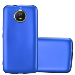 Cadorabo Hülle für Motorola MOTO G5S in METALLIC BLAU - Handyhülle aus flexiblem TPU Silikon - Silikonhülle Schutzhülle Ultra Slim Soft Back Cover Case Bumper