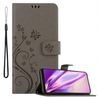 Cadorabo Hülle für Sony Xperia 1 / Xperia XZ4 in FLORAL GRAU Handyhülle im Blumen Design mit Magnetverschluss, Standfunktion und 3 Kartenfächern Case Cover Schutzhülle Etui Tasche
