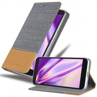 Cadorabo Hülle für Alcatel 1C 2019 in HELL GRAU BRAUN - Handyhülle mit Magnetverschluss, Standfunktion und Kartenfach - Case Cover Schutzhülle Etui Tasche Book Klapp Style