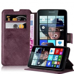 Cadorabo Hülle für Nokia Lumia 640 - Hülle in MATT ROT ? Handyhülle mit Standfunktion und Kartenfach im Retro Design - Case Cover Schutzhülle Etui Tasche Book Klapp Style