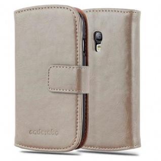 Cadorabo Hülle für Samsung Galaxy S3 MINI in CAPPUCINO BRAUN - Handyhülle mit Magnetverschluss, Standfunktion und Kartenfach - Case Cover Schutzhülle Etui Tasche Book Klapp Style