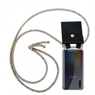 Cadorabo Handy Kette für Samsung Galaxy A30S in RAINBOW - Silikon Necklace Umhänge Hülle mit Gold Ringen, Kordel Band Schnur und abnehmbarem Etui - Schutzhülle