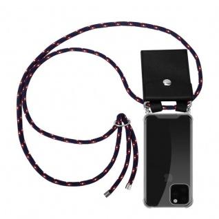 Cadorabo Handy Kette für Apple iPhone 11 PRO MAX (XI PRO MAX) in BLAU ROT WEISS GEPUNKTET - Silikon Necklace Umhänge Hülle mit Silber Ringen, Kordel Band Schnur und abnehmbarem Etui - Schutzhülle