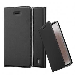 Cadorabo Hülle für Nokia 2 2017 in CLASSY SCHWARZ - Handyhülle mit Magnetverschluss, Standfunktion und Kartenfach - Case Cover Schutzhülle Etui Tasche Book Klapp Style
