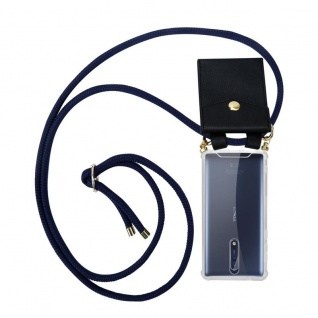 Cadorabo Handy Kette für Nokia 8 2017 in TIEF BLAU - Silikon Necklace Umhänge Hülle mit Gold Ringen, Kordel Band Schnur und abnehmbarem Etui ? Schutzhülle