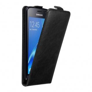 Cadorabo Hülle für Samsung Galaxy J1 2016 in NACHT SCHWARZ Handyhülle im Flip Design mit unsichtbarem Magnetverschluss Case Cover Schutzhülle Etui Tasche Book Klapp Style