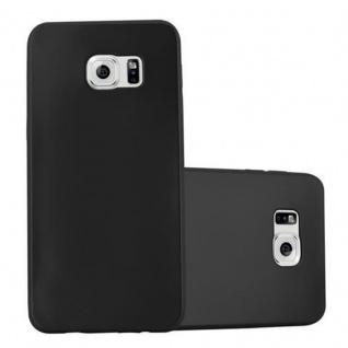 Cadorabo Hülle für Samsung Galaxy S6 EDGE in METALLIC SCHWARZ - Handyhülle aus flexiblem TPU Silikon - Silikonhülle Schutzhülle Ultra Slim Soft Back Cover Case Bumper