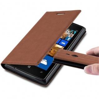 Cadorabo Hülle für Nokia Lumia 925 in CAPPUCCINO BRAUN - Handyhülle mit Magnetverschluss, Standfunktion und Kartenfach - Case Cover Schutzhülle Etui Tasche Book Klapp Style