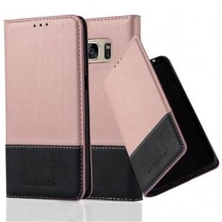 Cadorabo Hülle für Samsung Galaxy S7 in ROSÉ GOLD SCHWARZ ? Handyhülle mit Magnetverschluss, Standfunktion und Kartenfach ? Case Cover Schutzhülle Etui Tasche Book Klapp Style