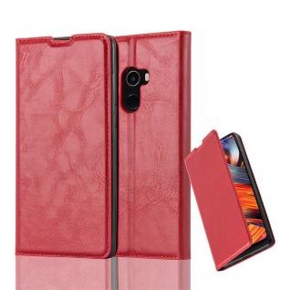 Cadorabo Hülle für Xiaomi Mi MIX 2 in APFEL ROT - Handyhülle mit Magnetverschluss, Standfunktion und Kartenfach - Case Cover Schutzhülle Etui Tasche Book Klapp Style