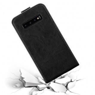 Cadorabo Hülle für Samsung Galaxy S10 in NACHT SCHWARZ - Handyhülle im Flip Design mit Magnetverschluss - Case Cover Schutzhülle Etui Tasche Book Klapp Style - Vorschau 4