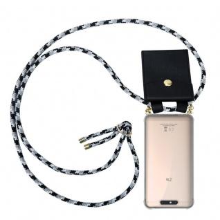 Cadorabo Handy Kette für ZTE Blade V8 in SCHWARZ CAMOUFLAGE - Silikon Necklace Umhänge Hülle mit Gold Ringen, Kordel Band Schnur und abnehmbarem Etui ? Schutzhülle