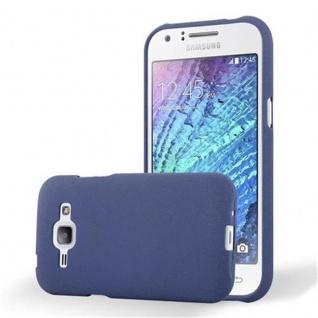 Cadorabo Hülle für Samsung Galaxy J1 2015 in FROST DUNKEL BLAU Handyhülle aus flexiblem TPU Silikon Silikonhülle Schutzhülle Ultra Slim Soft Back Cover Case Bumper
