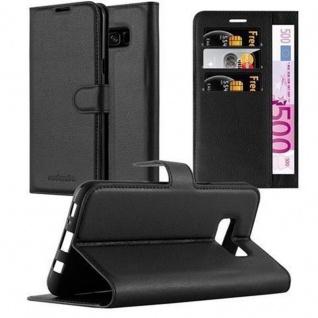 Cadorabo Hülle für Samsung Galaxy S8 in PHANTOM SCHWARZ Handyhülle mit Magnetverschluss, Standfunktion und Kartenfach Case Cover Schutzhülle Etui Tasche Book Klapp Style