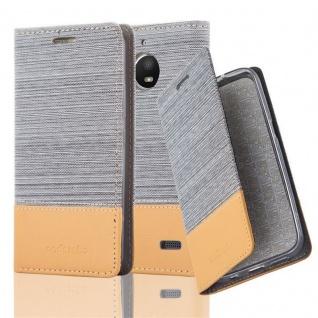 Cadorabo Hülle für Motorola MOTO E4 in HELL GRAU BRAUN - Handyhülle mit Magnetverschluss, Standfunktion und Kartenfach - Case Cover Schutzhülle Etui Tasche Book Klapp Style