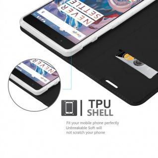 Cadorabo Hülle für OnePlus 3 / 3T in CLASSY SCHWARZ - Handyhülle mit Magnetverschluss, Standfunktion und Kartenfach - Case Cover Schutzhülle Etui Tasche Book Klapp Style - Vorschau 2