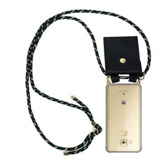 Cadorabo Handy Kette für Huawei NOVA PLUS in CAMOUFLAGE Silikon Necklace Umhänge Hülle mit Gold Ringen, Kordel Band Schnur und abnehmbarem Etui Schutzhülle