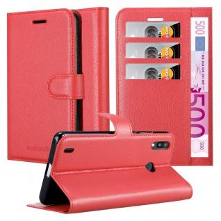 Cadorabo Hülle für Samsung Galaxy M10 in KARMIN ROT - Handyhülle mit Magnetverschluss, Standfunktion und Kartenfach - Case Cover Schutzhülle Etui Tasche Book Klapp Style