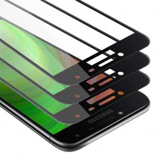 Cadorabo 3x Vollbild Panzer Folie für Samsung Galaxy J4 2018 - Schutzfolie in TRANSPARENT mit SCHWARZ - 3er Pack Gehärtetes (Tempered) Display-Schutzglas in 9H Härte mit 3D Touch