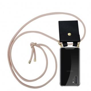 Cadorabo Handy Kette für Samsung Galaxy NOTE 10 PLUS in PERLIG ROSÉGOLD Silikon Necklace Umhänge Hülle mit Gold Ringen, Kordel Band Schnur und abnehmbarem Etui Schutzhülle