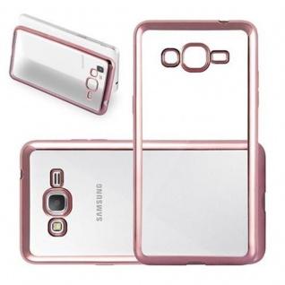 Cadorabo Hülle für Samsung Galaxy GRAND PRIME - Hülle in TRANSPARENT mit CHROM ROSEGOLD ? Handyhülle aus TPU Silikon im Chrom Design - Silikonhülle Schutzhülle Ultra Slim Soft Back Cover Case Bumper