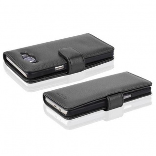 Cadorabo Hülle für Samsung Galaxy A5 2015 in OXID SCHWARZ - Handyhülle mit Magnetverschluss und 3 Kartenfächern - Case Cover Schutzhülle Etui Tasche Book Klapp Style - Vorschau 4