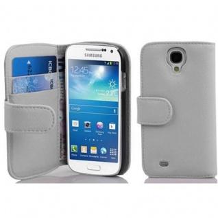 Cadorabo Hülle für Samsung Galaxy S4 MINI - Hülle in MAGNESIUM WEIß ? Handyhülle mit Kartenfach aus struktriertem Kunstleder - Case Cover Schutzhülle Etui Tasche Book Klapp Style