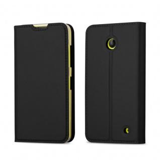 Cadorabo Hülle für Nokia Lumia 630 / 635 in CLASSY SCHWARZ - Handyhülle mit Magnetverschluss, Standfunktion und Kartenfach - Case Cover Schutzhülle Etui Tasche Book Klapp Style