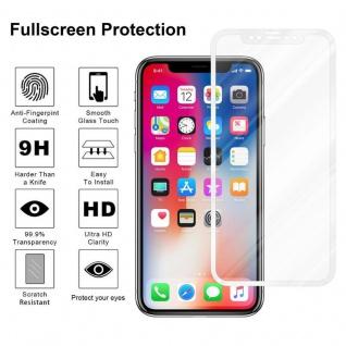 Cadorabo Vollbild Panzer Folie für Apple iPhone X / XS - Schutzfolie in TRANSPARENT mit WEISS - Gehärtetes (Tempered) Display-Schutzglas in 9H Härte mit 3D Touch Kompatibilität - Vorschau 4