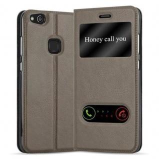 Cadorabo Hülle für Huawei P10 LITE in STEIN BRAUN - Handyhülle mit Magnetverschluss, Standfunktion und 2 Sichtfenstern - Case Cover Schutzhülle Etui Tasche Book Klapp Style