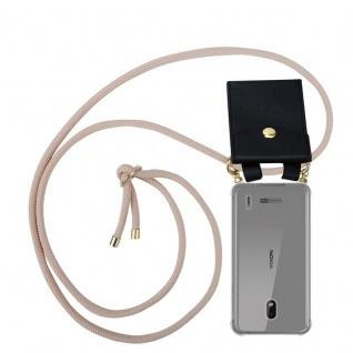 Cadorabo Handy Kette für Nokia 2.2 in PERLIG ROSÉGOLD Silikon Necklace Umhänge Hülle mit Gold Ringen, Kordel Band Schnur und abnehmbarem Etui Schutzhülle