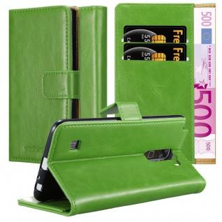 Cadorabo Hülle für LG STYLUS 2 in GRAS GRÜN Handyhülle mit Magnetverschluss, Standfunktion und Kartenfach Case Cover Schutzhülle Etui Tasche Book Klapp Style
