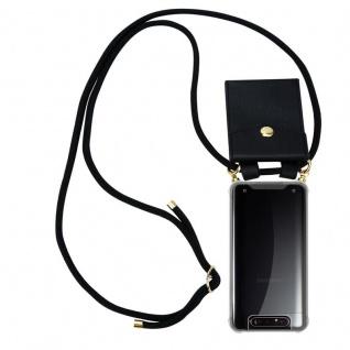 Cadorabo Handy Kette für Samsung Galaxy A80 / A90 in SCHWARZ Silikon Necklace Umhänge Hülle mit Gold Ringen, Kordel Band Schnur und abnehmbarem Etui Schutzhülle