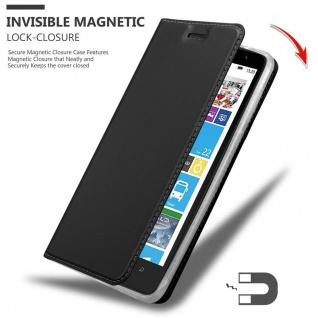 Cadorabo Hülle für Nokia Lumia 1320 in CLASSY SCHWARZ - Handyhülle mit Magnetverschluss, Standfunktion und Kartenfach - Case Cover Schutzhülle Etui Tasche Book Klapp Style - Vorschau 3