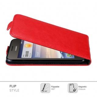 Cadorabo Hülle für Huawei Y330 in APFEL ROT Handyhülle im Flip Design mit Magnetverschluss Case Cover Schutzhülle Etui Tasche Book Klapp Style - Vorschau 4