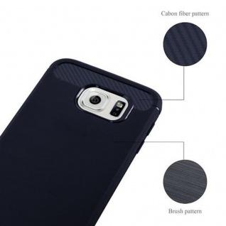 Cadorabo Hülle für Samsung Galaxy S6 - Hülle in BRUSHED BLAU - Handyhülle aus TPU Silikon in Edelstahl-Karbonfaser Optik - Silikonhülle Schutzhülle Ultra Slim Soft Back Cover Case Bumper - Vorschau 4