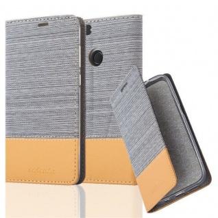 Cadorabo Hülle für Huawei P SMART 2018 / Enjoy 7S in HELL GRAU BRAUN ? Handyhülle mit Magnetverschluss, Standfunktion und Kartenfach ? Case Cover Schutzhülle Etui Tasche Book Klapp Style
